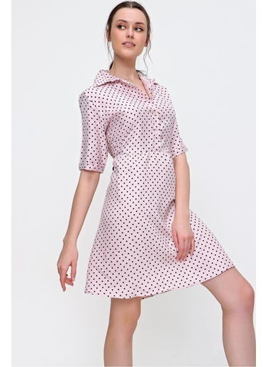 Pink Park Gömlek Yaka Puantiye Desenli Dokuma Viskon Elbise RD00018 Pembe